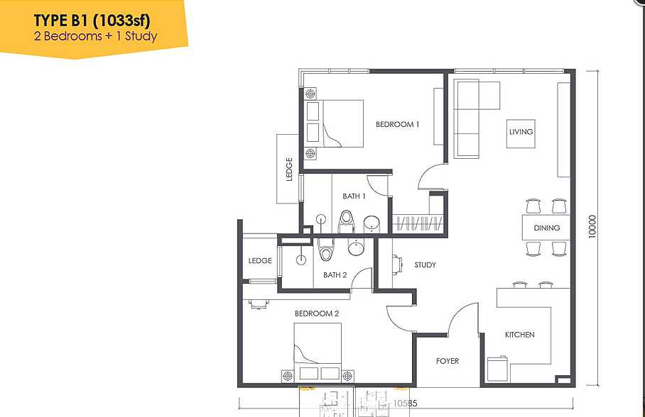 floor-plan-2-bedrooms-1-study-urbana-residences-1033-sq-ft