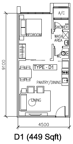 H2O condominium floor plan 449 sq ft
