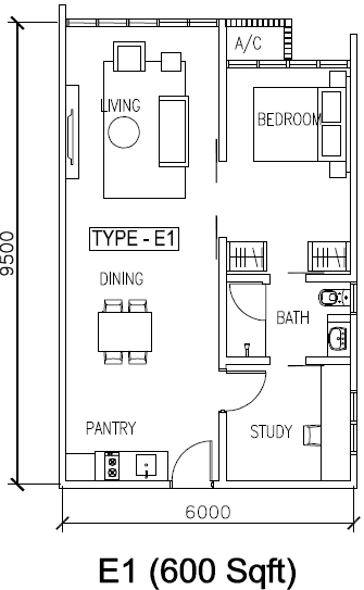 H2O condominium floor plan 600 sq ft