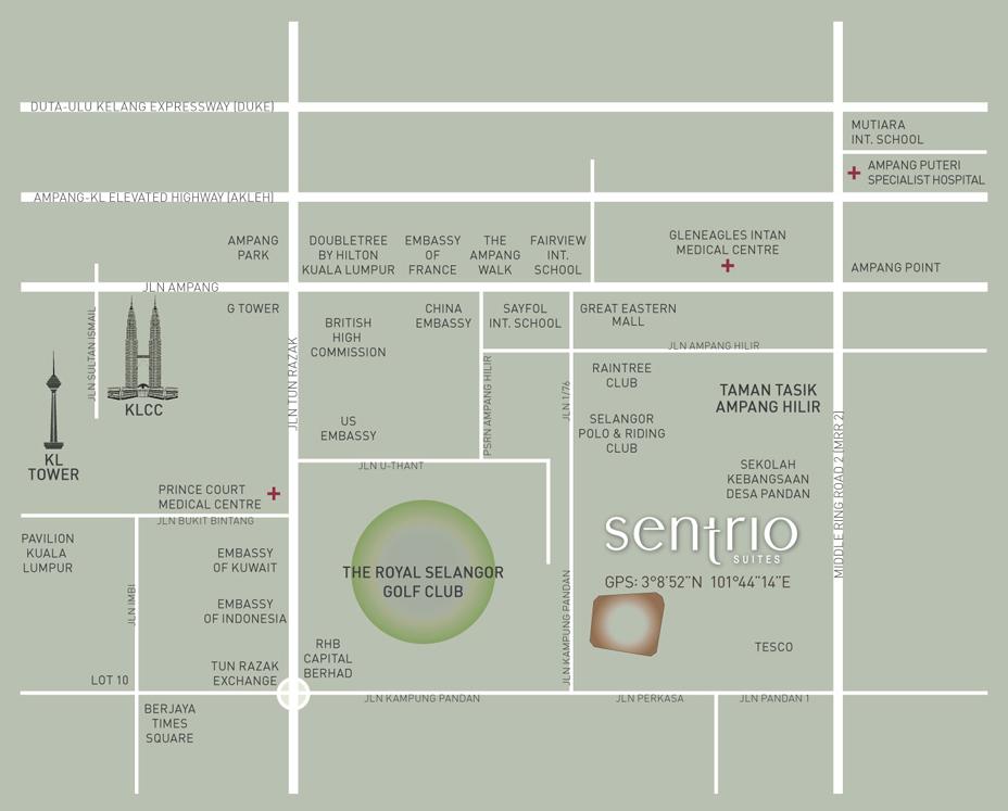 location map Sentrio Suites Serviced Apartment