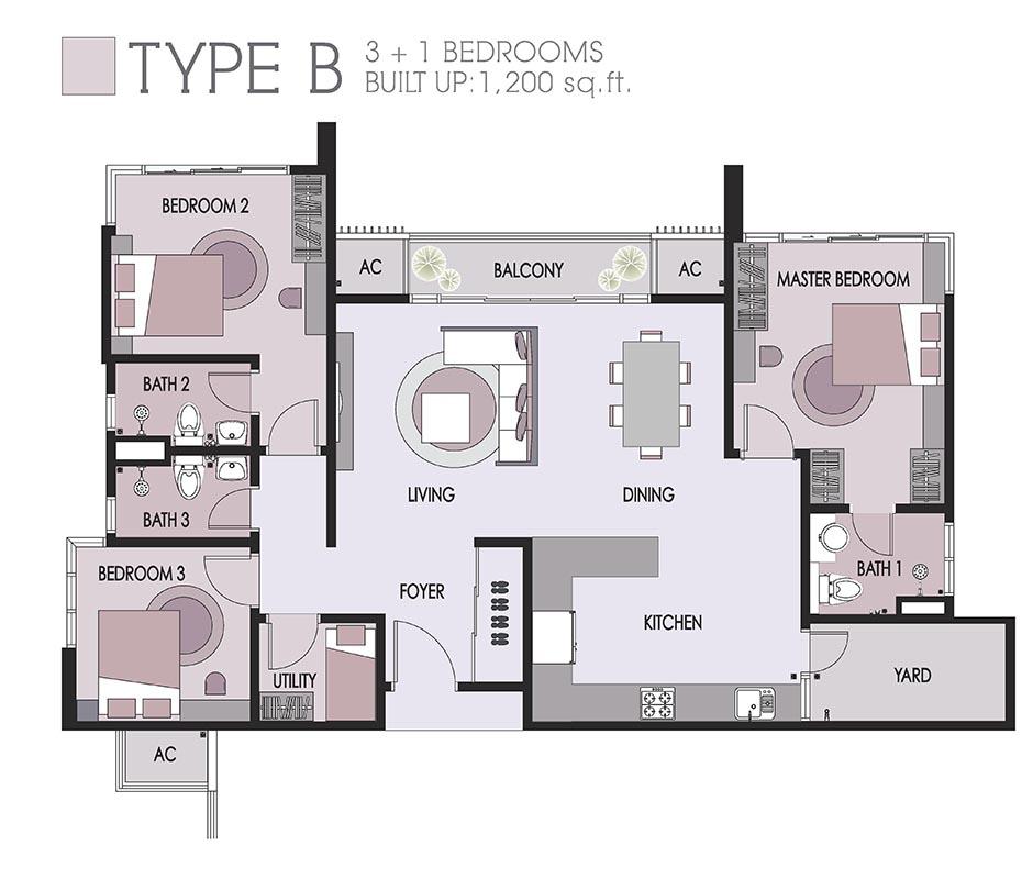 1200sqft-floorplan-type B-Dwiputra-Residences-Putrajaya