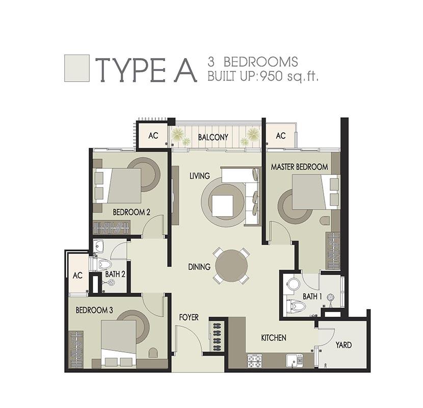 950sqft-floorplan-type A-Dwiputra-Residences-Putrajaya