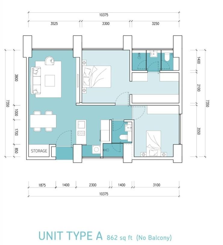 Type-A-862 sq.ft.-Lumi-Tropicana-apartment