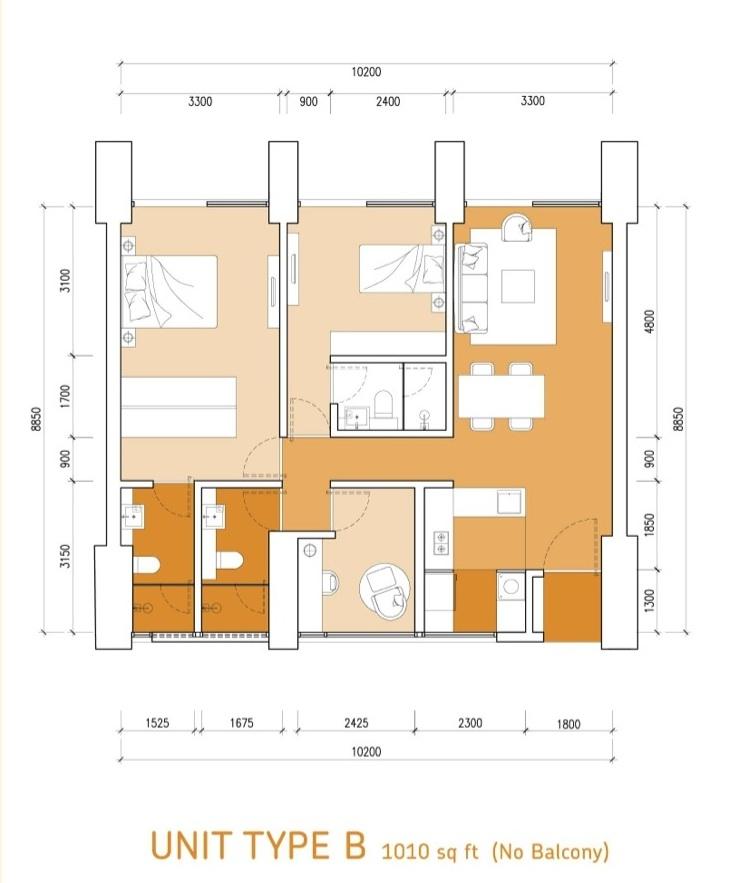 Type-B-1010 sq.ft.-Lumi-Tropicana-apartment
