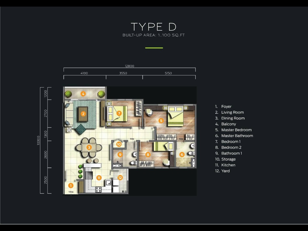 Type D-1,100-sq.ft-Parkhill-Residence-apartment