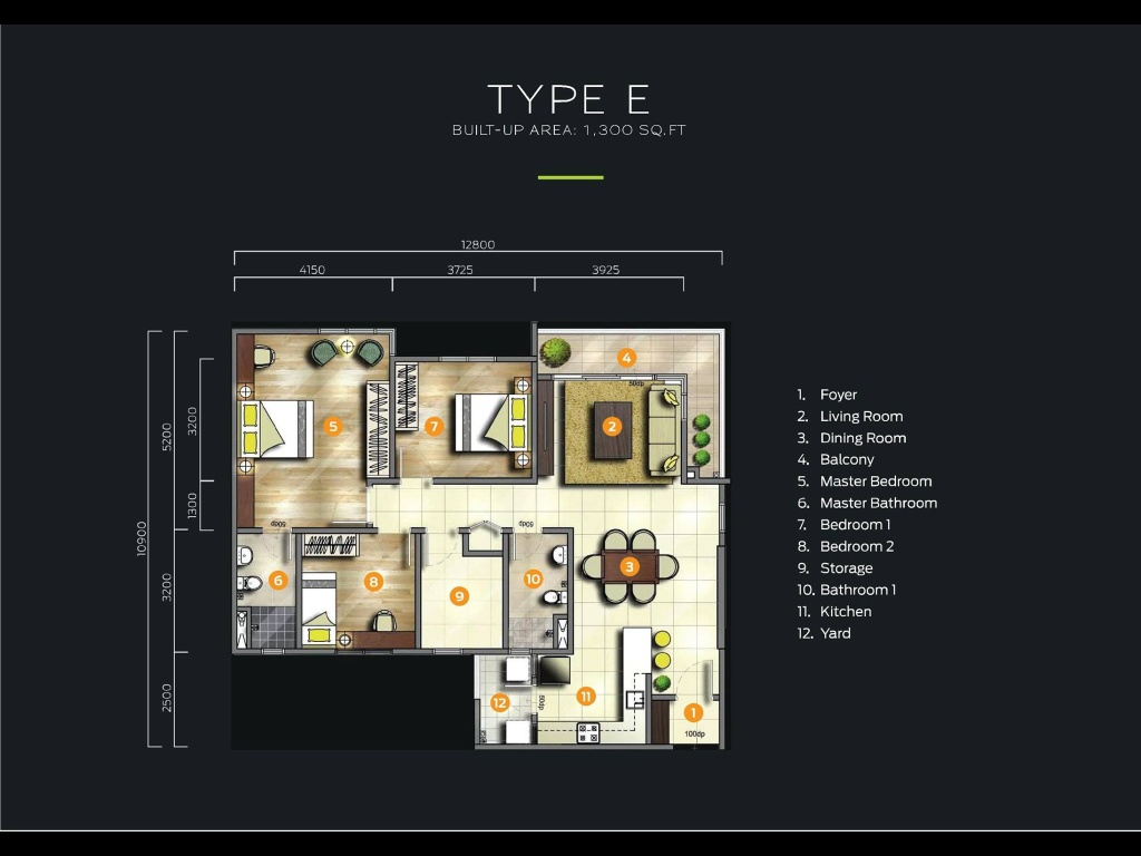 Type E-1,300-sq.ft-Parkhill-Residence-apartment