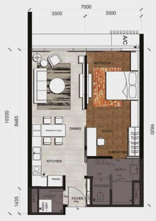 Anggun Residences-1 Bedroom-Type B-751 sq.ft.