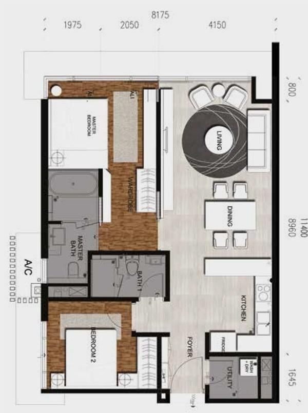 Anggun Residences-2 Bedroom-Type C-976 sq.ft.