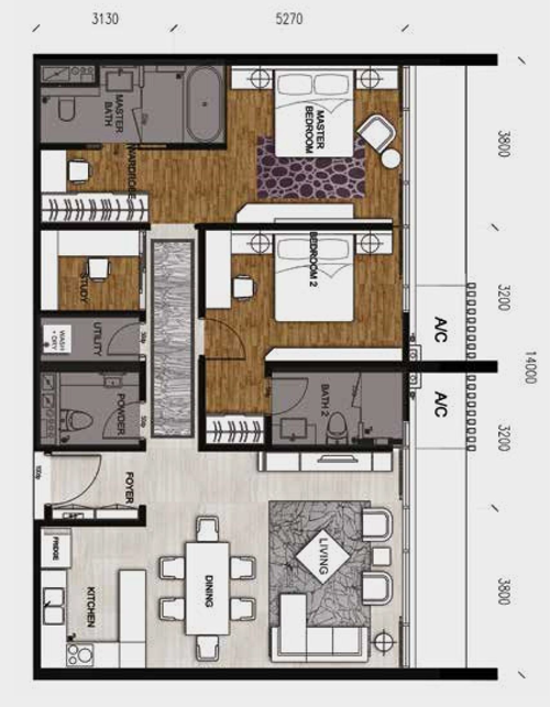 Anggun Residences-2+1 Bedroom-Type D-1259 sq.ft.