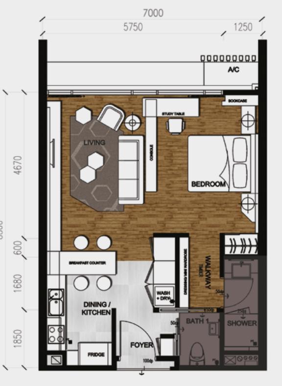 Anggun Residences-Studio-Type A-657 sq.ft.