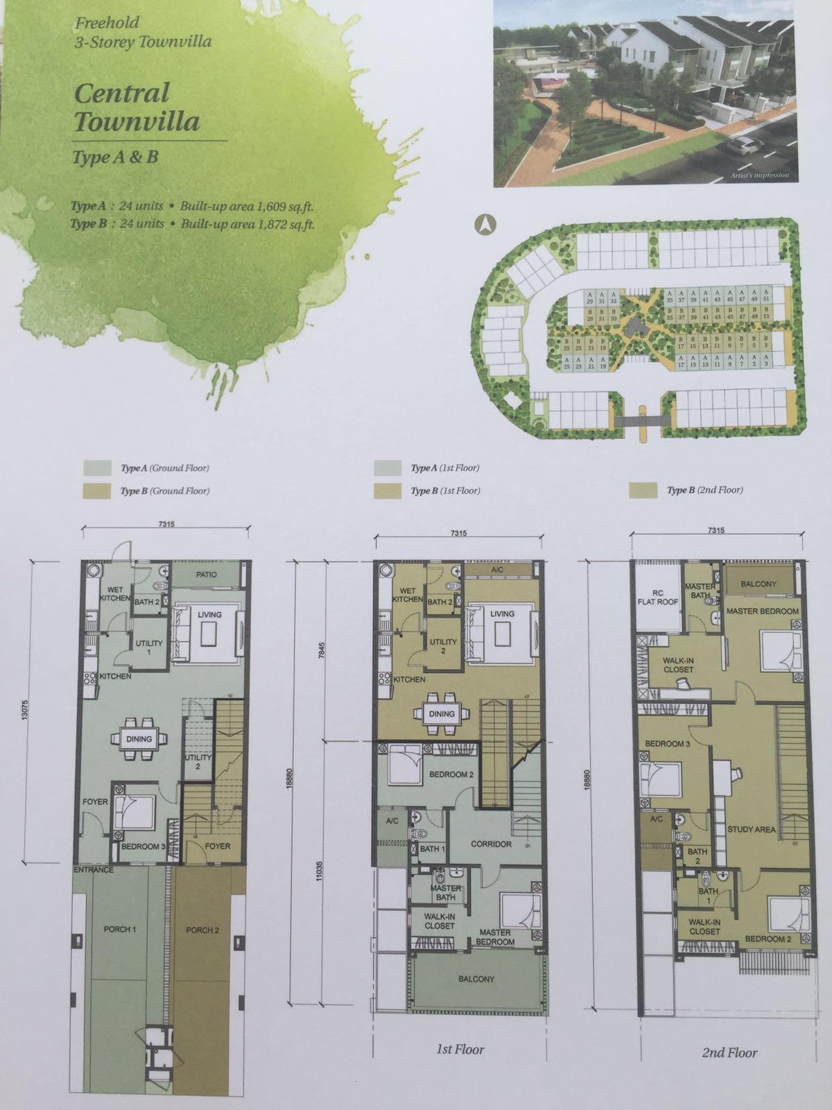 Crescent-Park-Townvilla-Bandar Bukit Mahkota-Floor-Plan