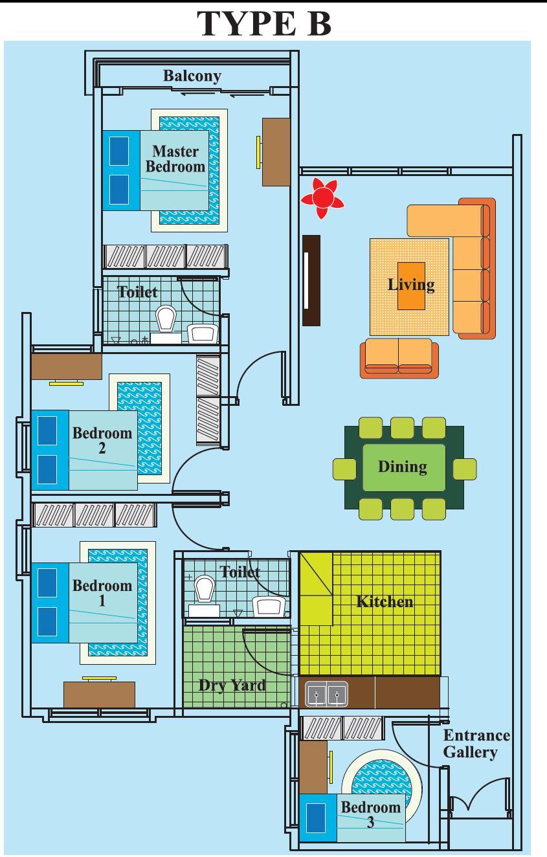 Ehsan Residence-TYPE B (WITH BALCONY)