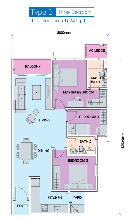 Biji-Living-Floor-Plan-1025 sq.ft.-3 bedroom