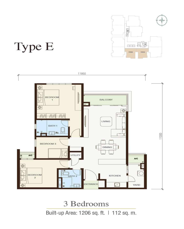 Irama-Wangsa-Condominium-Type E-1,206 sq.ft.-3 bedrooms