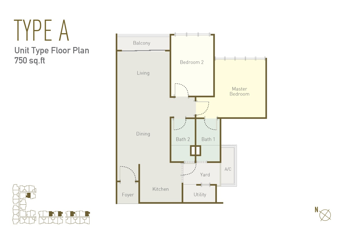 2 bedrooms and 2 bathrooms